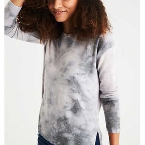American Eagle Outfitters Soft & Sexy Plush Tie Dye Gray Long Sleeve Shirt L